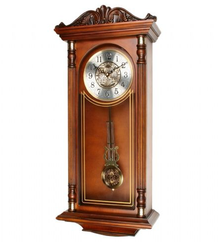 Grandfather Style Wooden Pendulum Wall Clock with Ornate Top & Large Numbers